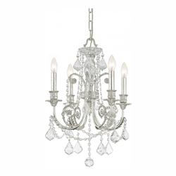 Crystorama Four Light Olde Silver Up Mini Chandelier