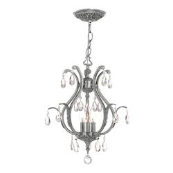 Crystorama Three Light Pewter Up Mini Chandelier