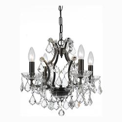 Crystorama Four Light Vibrant Bronze Up Mini Chandelier