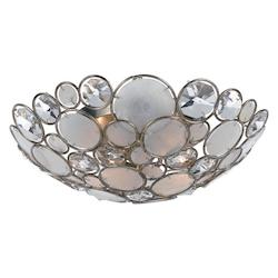Crystorama Three Light Antique Sliver Bowl Semi-Flush Mount