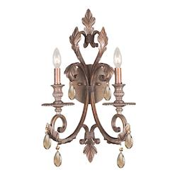 Crystorama Two Light Florentine Bronze Wall Light
