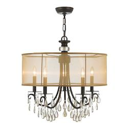Crystorama Five Light English Bronze Drum Shade Chandelier