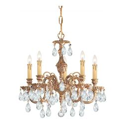 Crystorama Five Light Olde Brass Up Mini Chandelier