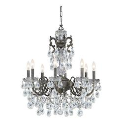 Crystorama Legacy 6 Light English Bronze Crystal & Wrought Iron Chandelier