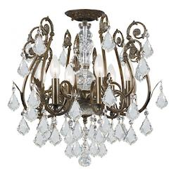 Crystorama 6 Light Swarovski Spectra Crystal Semi-Flush
