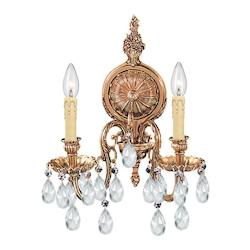Crystorama Olde Brass / Hand Polished Baroque 2 Light Cast Brass Crystal Double Wall Sconce