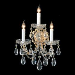 Crystorama Gold / Hand Polished Maria Theresa 3 Light Candle Style Crystal Wall Sconce