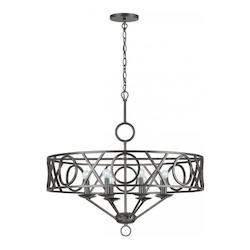 Crystorama English Bronze Odette 8 Light 30in. Wide Wrought Iron Drum Chandelier