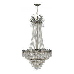 Crystorama Five Light Historic Brass Down Chandelier