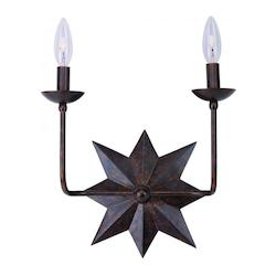 Crystorama English Bronze Astro 2 Light Candle Style Double Wall Sconce