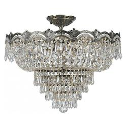 Crystorama 5 Light Swarovski Elements Crystal Semi-Flush
