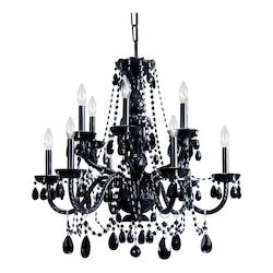 Crystorama Traditional Black 12 Light Chandelier With Black Crystals And Clear Bulbs