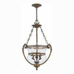Crystorama Antique Brass Camden 3 Light Foyer Pendant with Urn Shade