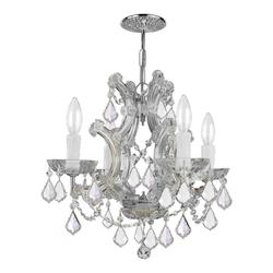 Crystorama Maria Theresa Chrome 4 Light Hand Cut Crystal Mini Chandelier