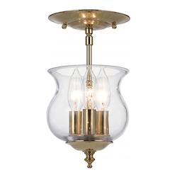 Crystorama Three Light Polished Brass School House Semi-Flush Mount