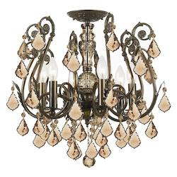 Crystorama 6 Light Golden Teak Swarovski Elements Semi-Flush