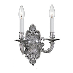 Crystorama Pewter Arlington 2 Light Candle Style Double Wall Sconce