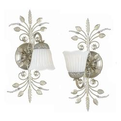 Crystorama One Light Silver Leaf Wall Light