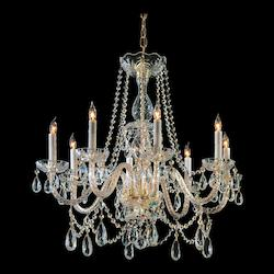Crystorama Eight Light Polished Brass Up Chandelier