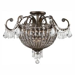 Crystorama Nine Light English Bronze Bowl Semi-Flush Mount