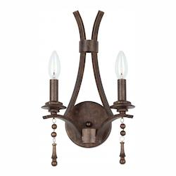 Crystorama English Bronze Parson 2 Light Candle Style Double Wall Sconce