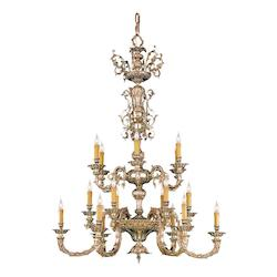 Crystorama Olde Brass Novella 18 Light 40in. Wide 2 Tier Cast Brass Candle Style Chandelier
