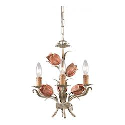 Crystorama Three Light Sage/Rose Up Mini Chandelier