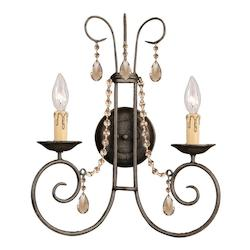 Crystorama Dark Rust / Hand Polished Soho 2 Light Candle Style Crystal Double Wall Sconce
