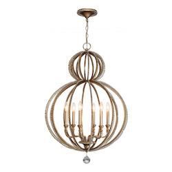 Crystorama Six Light Distressed Twilight Up Chandelier
