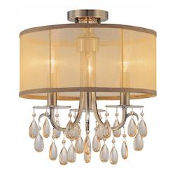 Crystorama Antique Brass Hampton 3 Light Semi-Flush Ceiling Fixture