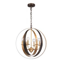 Crystorama English Bronze / Antique Gold Luna 6 Light 21in. Wide Wrought Iron Chandelier