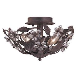 Crystorama Three Light Dark Rust Bowl Semi-Flush Mount