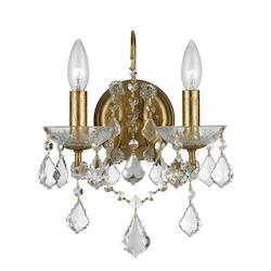 Crystorama Two Light Antique Gold Wall Light