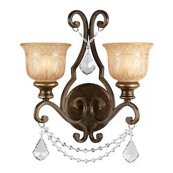 Crystorama Two Light Bronze Umber Amber Etched Glass Wall Light