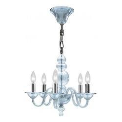 Crystorama Five Light Polished Chrome Ice Blue Glass Up Mini Chandelier