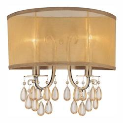 Crystorama Antique Brass Hampton 2 Light Candle Style Flushmount Wall Sconce