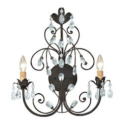 Crystorama Dark Rust Victoria 2 Light Candle Style Double Wall Sconce