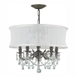 Crystorama Five Light Pewter Up Chandelier