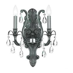 Crystorama Pewter / Hand Polished Dawson 2 Light Candle Style Crystal Wall Sconce