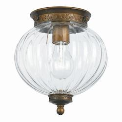 Crystorama Antique Brass Camden 1 Light Flush Mount Ceiling Fixture with Clear Melon Glass
