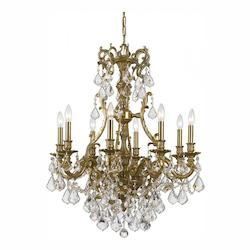 Crystorama Eight Light Aged Brass Up Chandelier