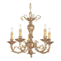 Crystorama Olde Brass Etta 5 Light 20in. Wide Cast Brass Candle Style Chandelier
