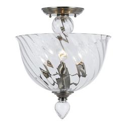 Crystorama Polished Chrome Harper 3 Light Semi-Flush Ceiling Fixture