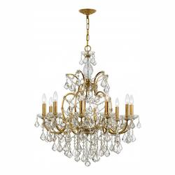 Crystorama Ten Light Antique Gold Up Chandelier