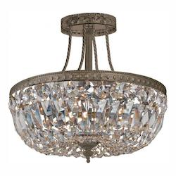 Crystorama English Bronze Traditional Crystal 3 Light Semi Flush Ceiling Fixture