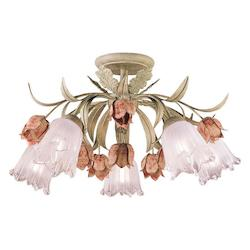 Crystorama Southport 5 Light Wrought Iron Rose Semi-Flush Ceiling Light