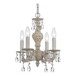 Crystorama Four Light Antique White Up Mini Chandelier