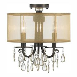 Crystorama Three Light English Bronze Drum Shade Semi-Flush Mount