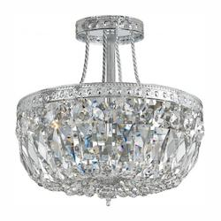Crystorama Three Light Chrome Bowl Semi-Flush Mount