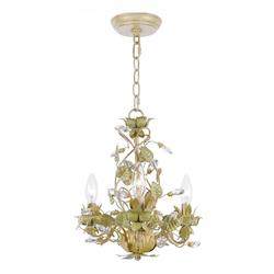 Crystorama Three Light Champagne Green Tea Up Mini Chandelier